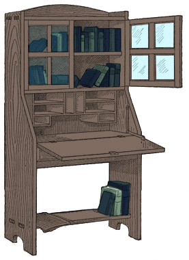 Combination Bookcase Desk Plans