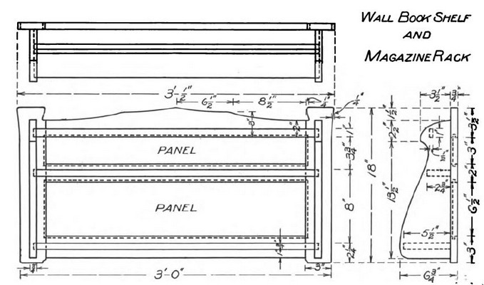 Wall Book Shelf and Magazine Rack Plans