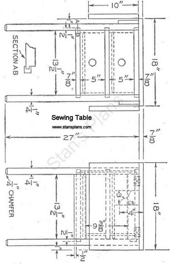 Printable Plans for a Sewing Table